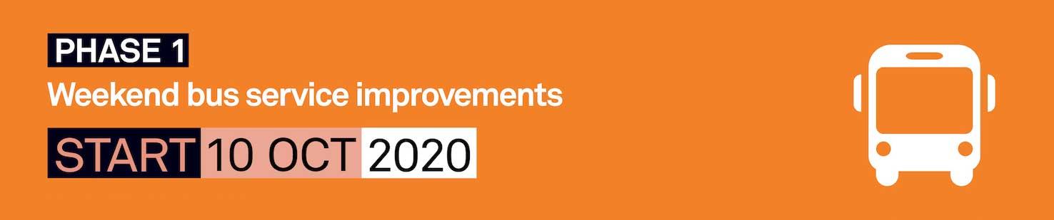 Weekend bus service improvements start 10 Oct 2020