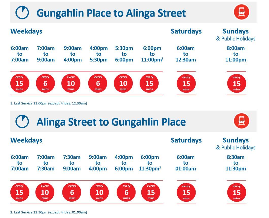 LRV timetable